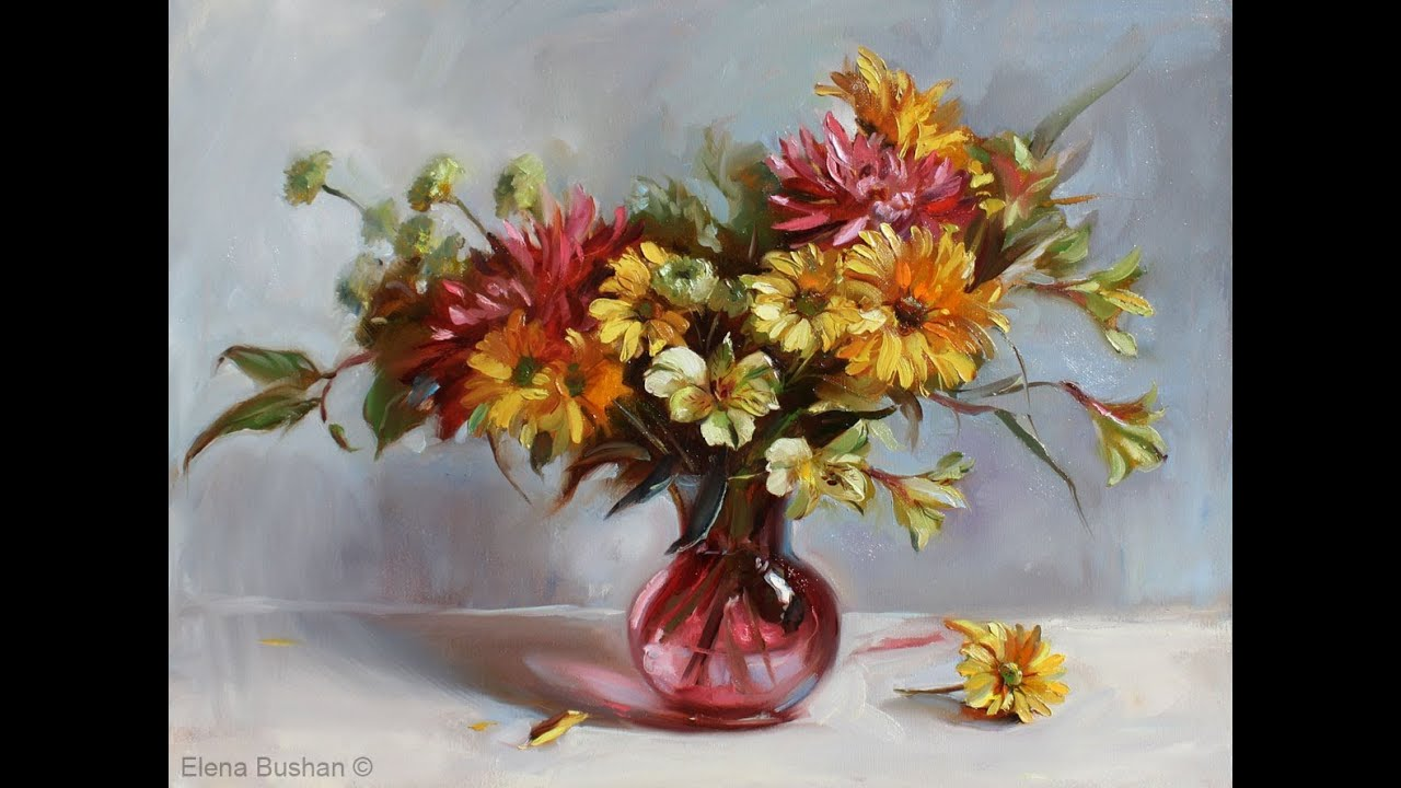 Painting flowers in oil youtube izmirmasajfo