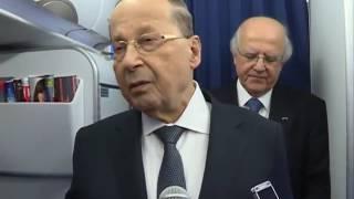 فيديو.. الرئيس اللبناني عن سقوطه في «قمة الأردن»: «حادث بسيط»