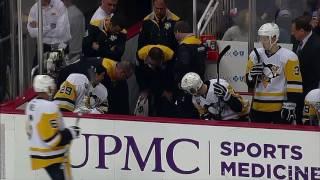 Gotta See It: Letang falls through the bench door