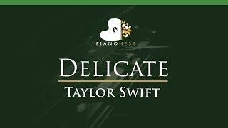 Taylor Swift - Delicate - LOWER Key (Piano Karaoke / Sing Along)