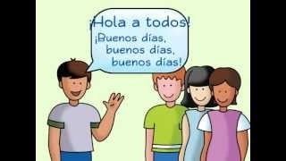 Repeat youtube video Hola a todos: A Spanish Greeting Song - Calico Spanish Songs for Kids