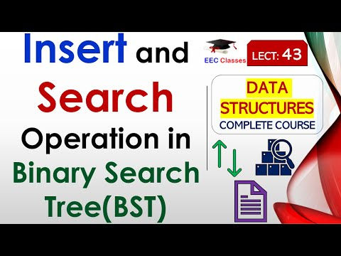 Search and Insertion Operation in Binary Search Tree(Hindi, English) with example
