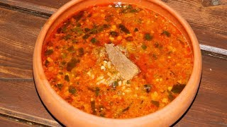 Суп харчо. Суп харчо в казане на природе.