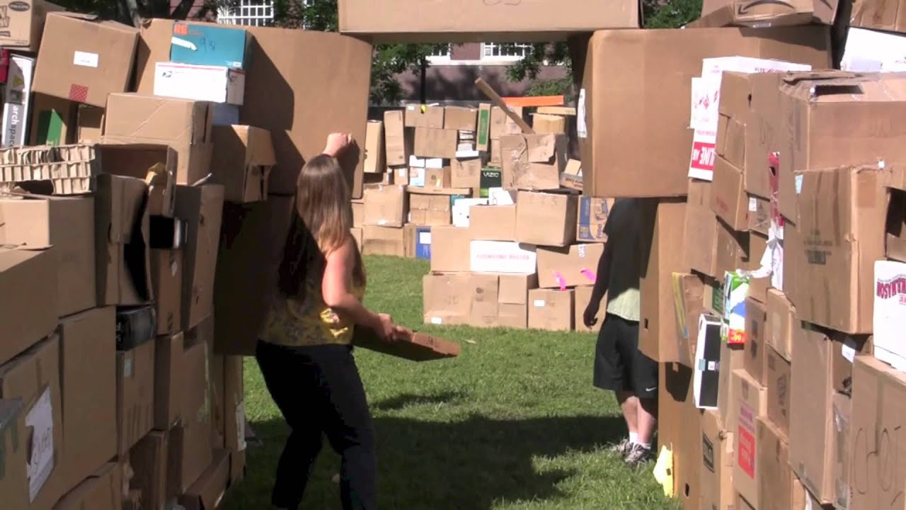 World S Largest Cardboard Box Fort Youtube