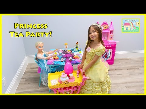My Size Elsa & Anna Disney Princess Belle have a Tea Party Play Kitchen Opening Surprise Eggs Toys