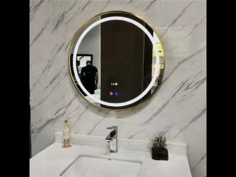 Round Mirror With Metal Gold Frame Wall Mounted Decorative Mirror
