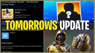 *NEW* Fortnite: TOMORROWS UPDATE! (Summit Striker Starter Pack, Hunting Party Skin & LEAKS)