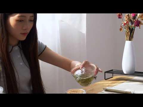 錫製銀花玻璃蓋碗茶具組