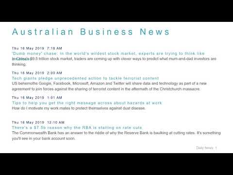 Business News Headlines for 16 May 2019 - 8 AM Edition