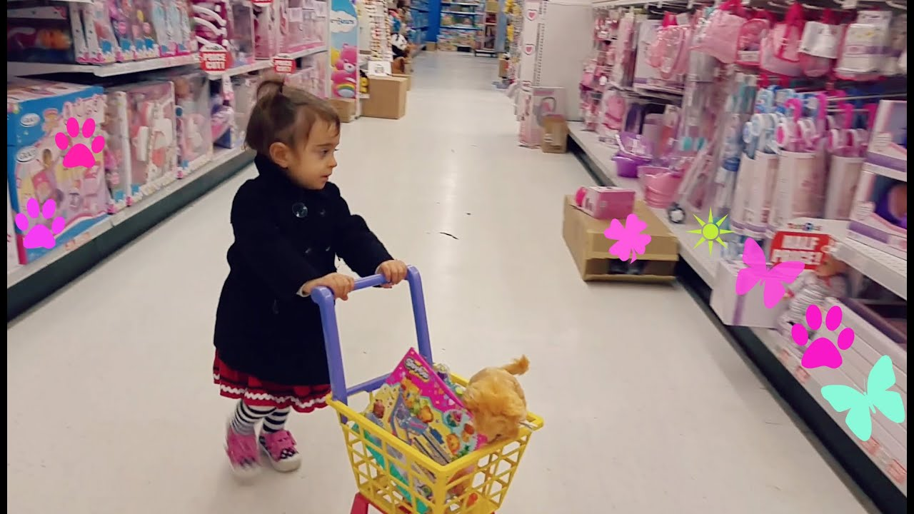 "Cute Little Girl Doing Shopping TOYS ""R"" US Toy Shopping Cart"