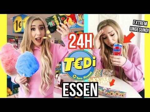 nur 1€ TEDI LADEN ESSEN für 24 STUNDEN essen! *Food Challenge*