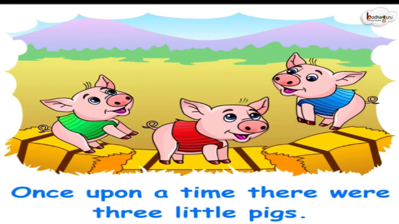 graphic about Three Little Pigs Story Printable named Shorter Animated Tale - A few Small Pigs (English)