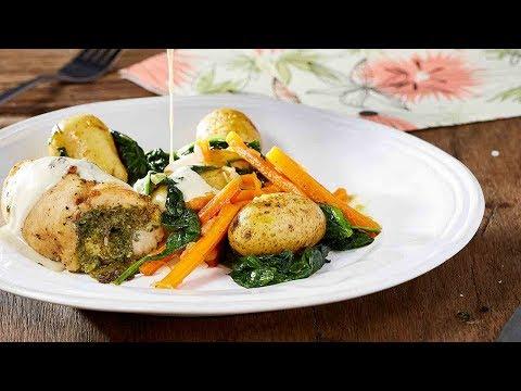 recette-roulade-de-poulet-au-pesto-et-poêlée-de-grenailles-aux-épinards-–-colruyt