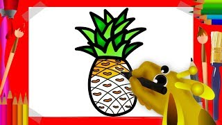 Drawing for Kids | Fruit Coloring Pages | How to draw Pineapple and other Fruits | Art4Kids