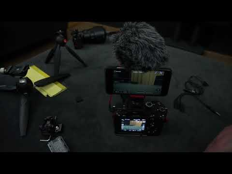 A7r iii small setup for using your iphone as monitor with 2 audio channels