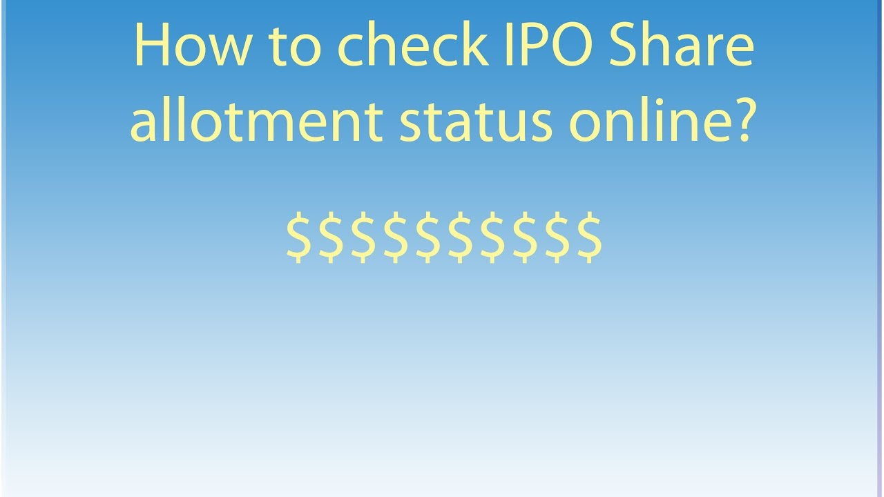 How to check ipo allotment by pan number