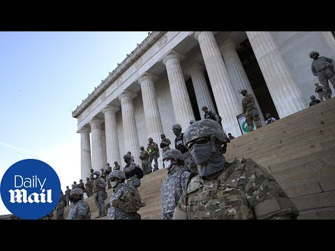 National Guard Lines Up Around Lincoln Memorial Past Curfew In DC