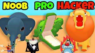 Noob vs PRO vs Hacker In ZOO - HAPPY ANIMALS || Oggy & The Cockroaches