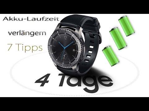 + 3-4 TAGE AKKU + Samsung GEAR S3 7 Tipps um Akkulaufzeit zu verlängern!! 3-4 Tage