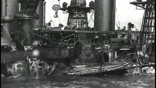 Aftermath of the attack on Pearl Harbor by the Japanese. HD Stock Footage