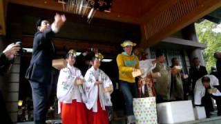 2010.02.03 館山市の安房神社の節分祭で さかなクンが豆まき...