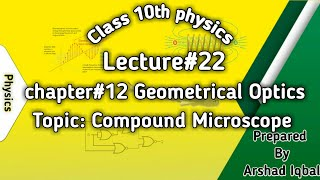kpk class 10th physics chapter#12 Geometrical Optics lecture#22 on compound microscope