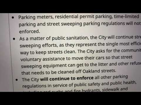Oakland Parking Meters, Residential Permit Parking, Not Enforced During Pandemic