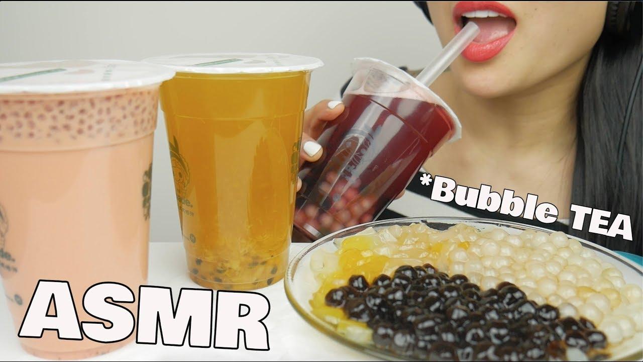 ASMR BUBBLE TEA + PEARLS + JELLY (DRINKING EATING SOUNDS)   SAS-ASMR