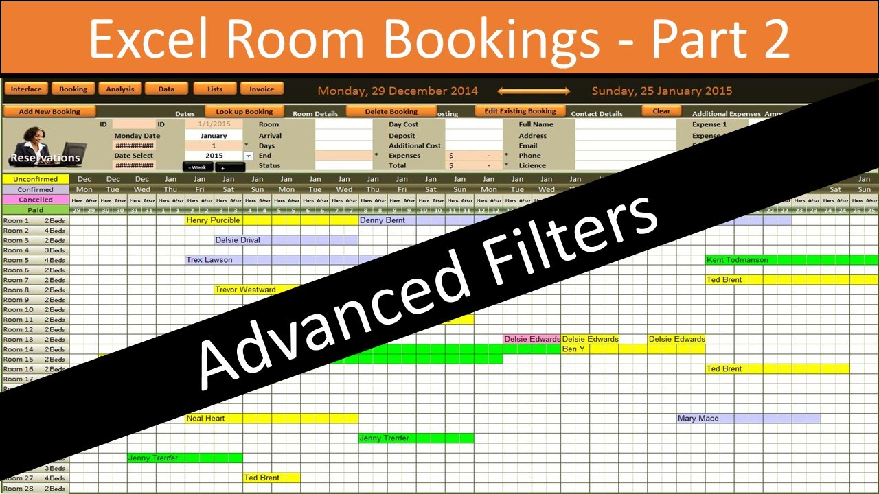Excel Room Bookings Advanced Filters Youtube