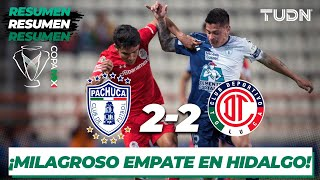 Resumen y Goles | Pachuca 2 - 2 Toluca | Copa Mx - Cuartos de Final (Ida) | TUDN