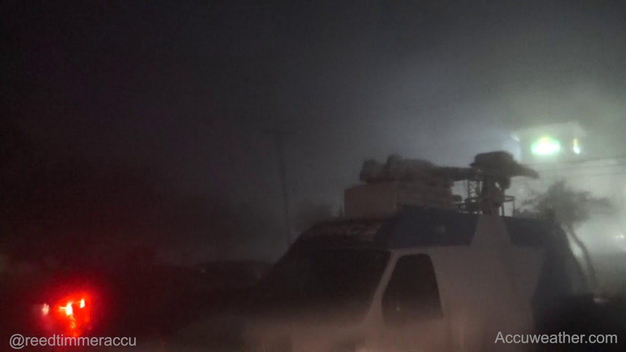 INTENSE eye wall of category 4 Hurricane Harvey from Rockport, TX