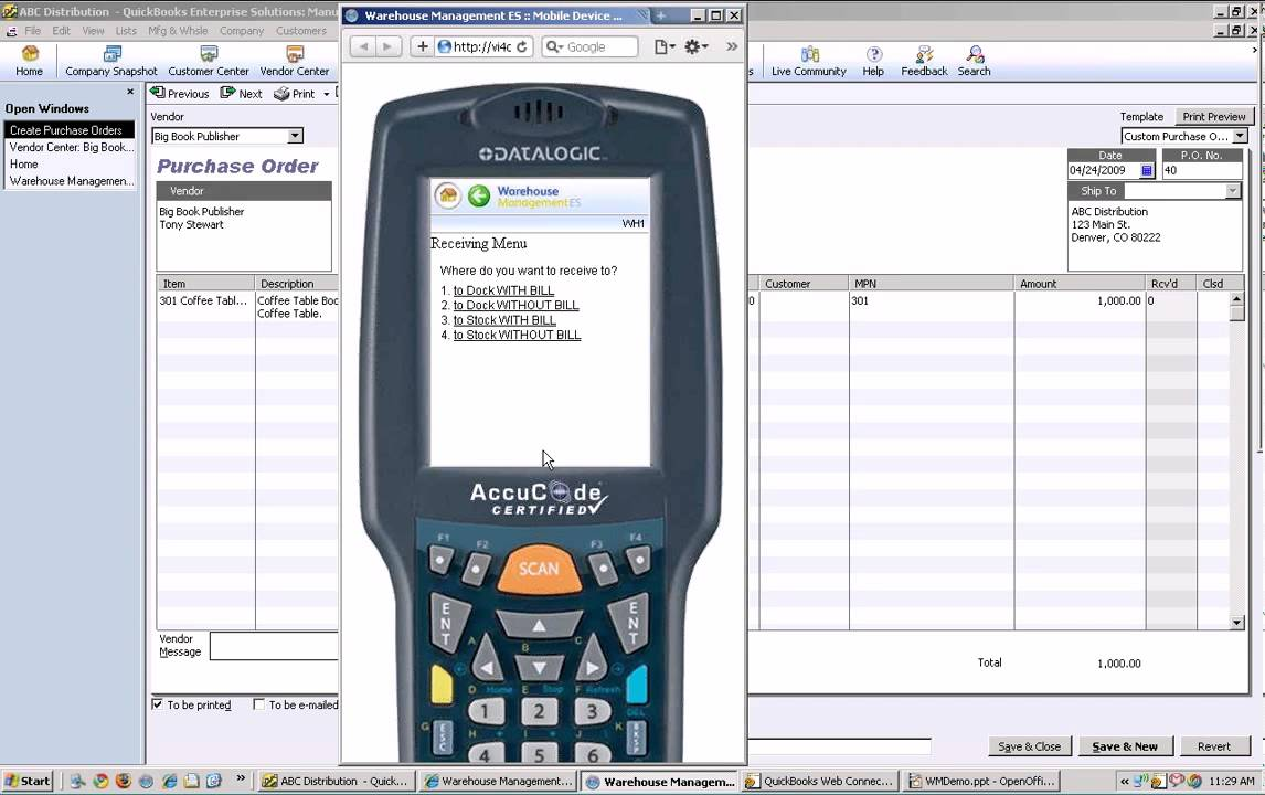 Intuit Warehouse Management ES: Demo 2 Receiving Inventory with Mobile  Barcode Scanner