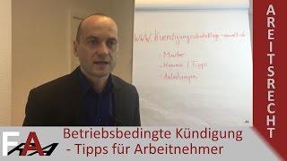 Betriebsbedingte Kündigung - Tipps für Arbeitnehmer   Arbeitsrecht
