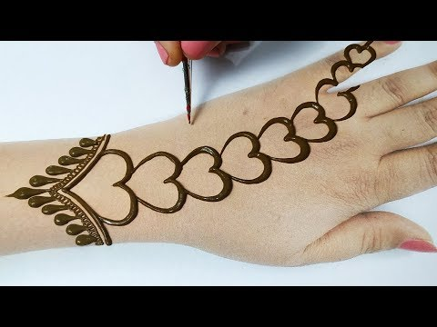 आसान हार्ट शेप की मेहँदी लगाना सीखे -Easy Mehndi Design Step by step- mehndi for beginners