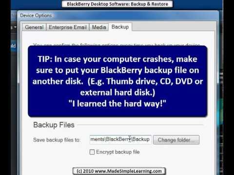 BlackBerry Desktop Software 6.0 - Backup, Restore & Delete Data