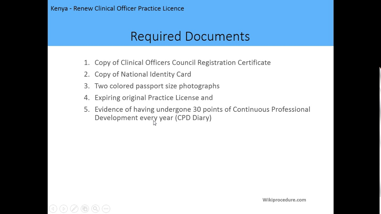 Kenya - Renew Clinical Officer Practice Licence