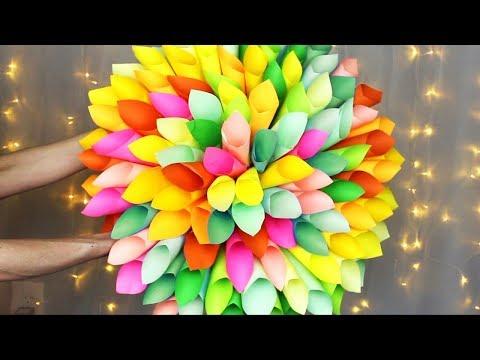 PAPER FLOWER DIY WREATH | HUGE Paper Dahlia Room/Wall Decor!