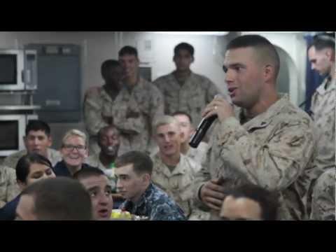 Marines and Sailors sing underway