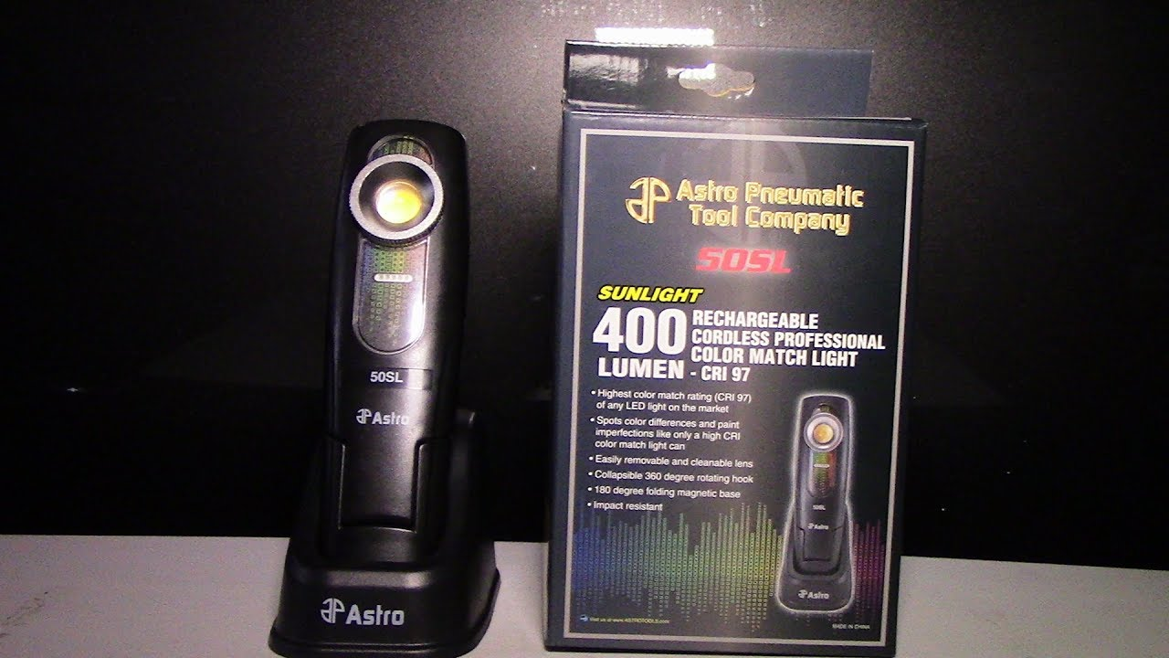 Astro Pneumatic 50SL SunLight 400 Lumen Rechargeable Color Match Light