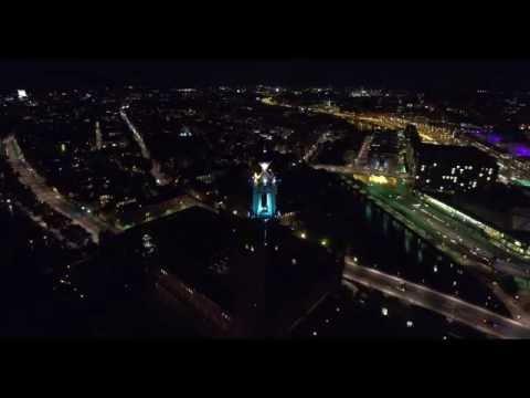 DJI Phantom 4, Stockholm 4K, City hall at night
