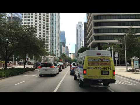 Driving Downtown Miami's Main Road Miami Florida USA