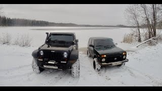 Jeep wrangler vs Нива. Offroad зимой