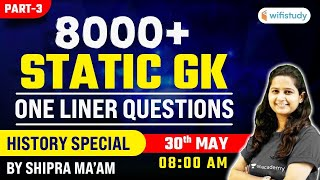 SSC and Railway Exams | Marathon Session by Shipra Chauhan | 8000+ Static GK One Liner Ques (Part-3)