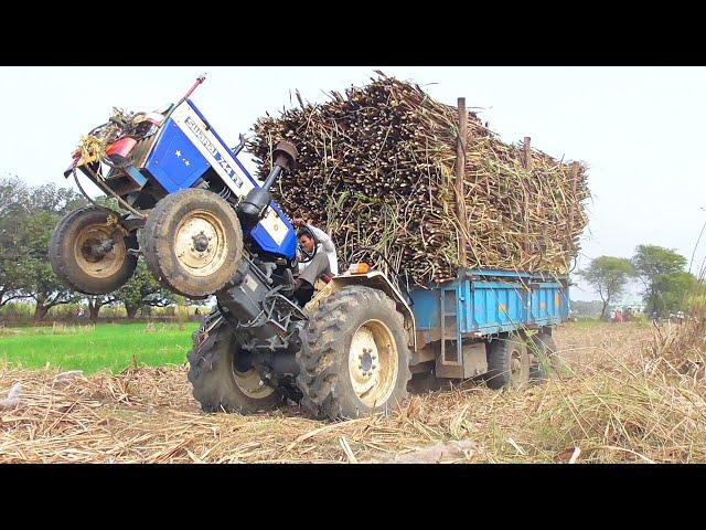Swaraj 744 FE Pulling Full Loaded Trolley of Sugarcane