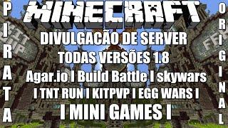 Server de Minecraft 1.8/1.8.8 Agar.io,Build Battle,skywars,TNT RUN,KITPVP Minigames,Pirata/Original