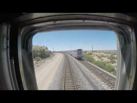 Amtrak Sunset Limited Train #1 Passes Train #2 w/ Heritage Baggage