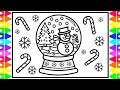 How to Draw a SNOWMAN in a SNOW GLOBE Step by Step | SNOW GLOBE Drawing and Coloring Page| Christmas