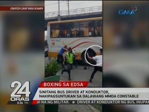24 Oras: Sinitang bus driver at konduktor, nakipagsuntukan sa dalawang MMDA constable