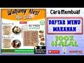 CARA BUAT DAFTAR MENU MAKANAN| Pake HP Android| PART-6