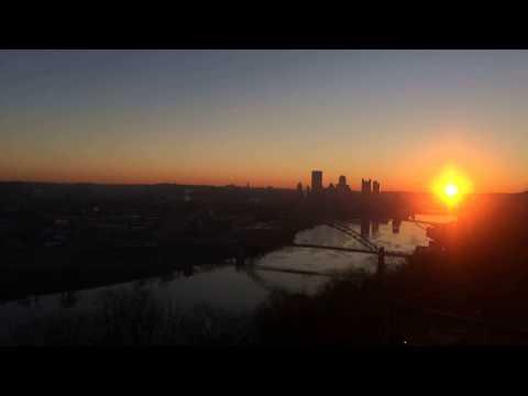 Pittsburgh, Pennsylvania. 11-24-17 sunrise 6:45-8:10 am 30° time-lapse.